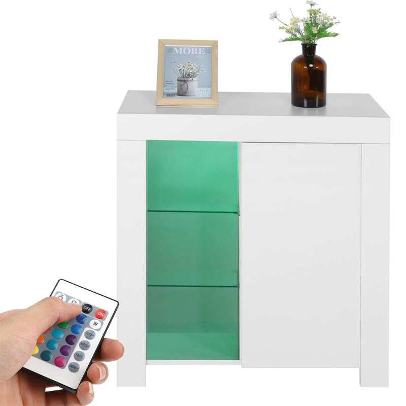 اللوح الجانبي مع أضواء LED 3-Tier خزانة أدوات المائدة خزانة لغرفة الطعام المطبخ أثاث المنزل