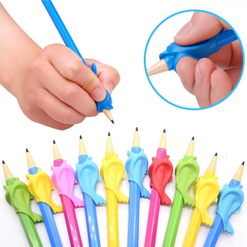 10 unids/set lápiz de pescado titular pluma para niños agarre titular escritura Corrector de postura para niños suministros de escritura Color al azar