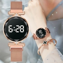 Luxury Digital Magnet Watches For Women Rose Gold Stainless Steel Dress LED Quartz Watch Female Cloc
