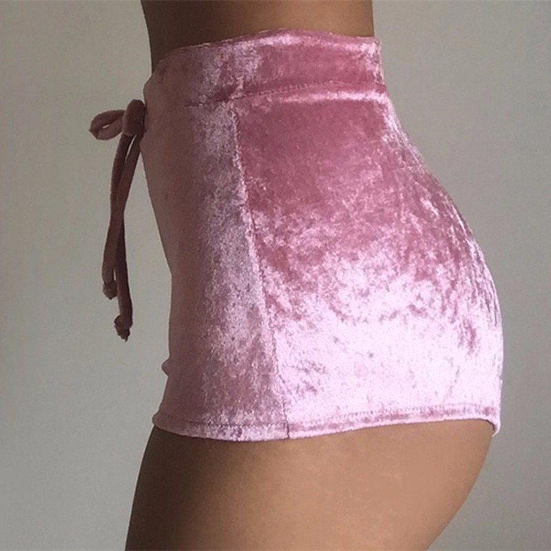 Casual High Waist Winter Sexy Pink Skinny Booty Shorts S-XL Women 2021 Fall Velvet Drawstring Solid Shorts Plus Size Feminino  - buy with discount