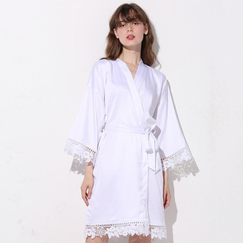 25 pcs Women Matt Satin Lace Robe Bride Robe Bridesmaid Robes Bridal Wedding Robe Bathrobe