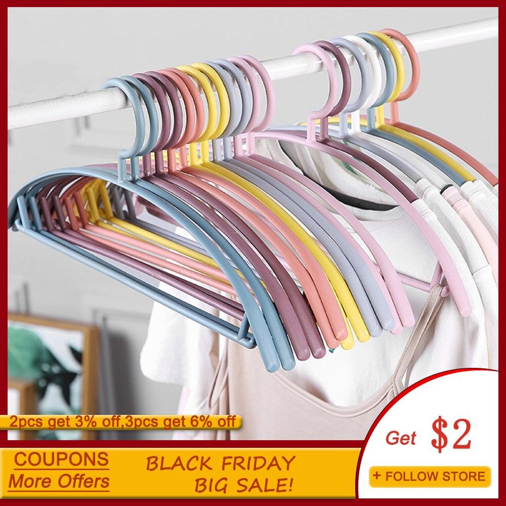 Cabides de Plástico Guarda-roupa do Banheiro ao ar Lote Forma Arco Antiderrapante Cabolsa Camiseta Roupas Cabide Casa Livre Secagem Cremalheiras Branco Rosa 10 Pçs –