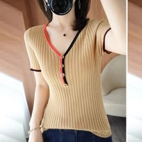 button pullover short sleeve knitted t shirt women splice tshirts casual tops 2021 summer o neck female knit t shirt korea style