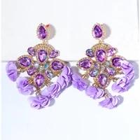 wholesale long tassel earrings new boho statement fashion earring colorful rhinestone cute hanging big earring for women 2021 za