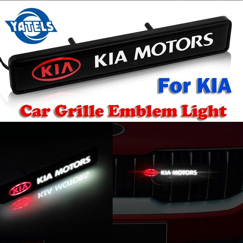 ABS Хром Передняя крышка решетка эмблема значок светодиодный декоративный свет для KIA Cerato Sportage R k2 k3 k4 k5 k6 Sorento Sportage Soul Optima