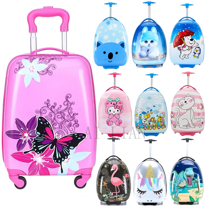 HOT new kids travel suitcase spinner wheels rolling luggage Carry ons Cabin trolley luggage bag Cute