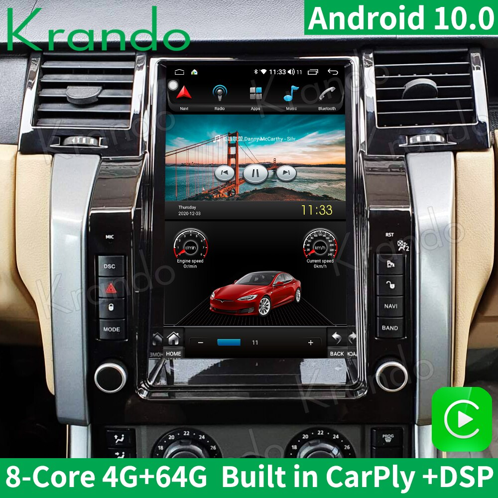 Krando Android 10.0 4G 64G 12.1'' Tesla Vertical Screen Car Radio GPS For Land Rover Range Rover Sport 2005-2009 Audio Carplay