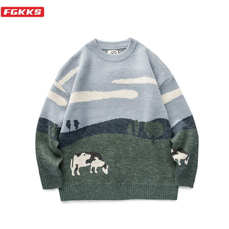 FGKKS Men Cows Vintage Winter Sweaters 2021 Pullover Mens O-Neck Korean Fashions Clothes Casual Harajuku Sweater Men