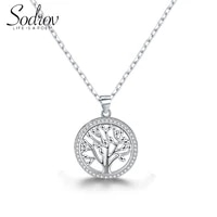 sodrov 925 sterling silver 20mm tree of life silver necklace for women nature lucky silver 925 jewelry gift necklace