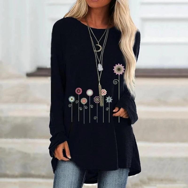 Gran oferta camisetas sueltas de manga larga con cuello redondo para mujer para primavera otoño 2020
