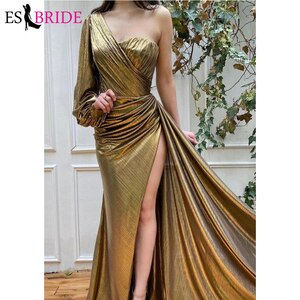 Mermaid Evening Dress Gold One-Shoulder Full Sleeves Formal Dress Party Prom Gown High Side Slit Dresses Woman Party Night