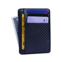 2020 New Slim Carbon Fiber Wallet Card Holder RFID Wallets Black Business Card Holder Simple Purse B