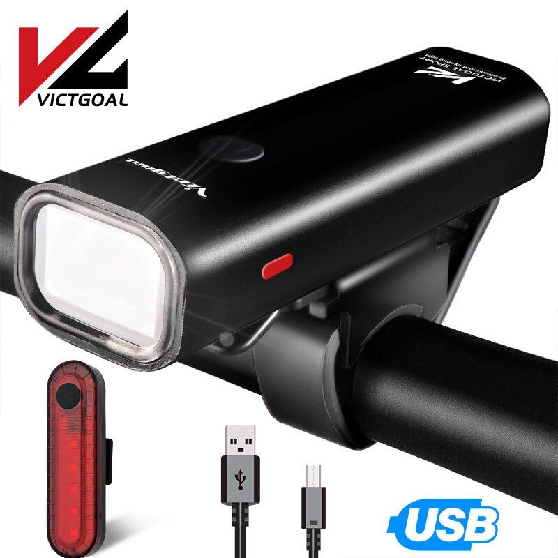 VICTGOAL Bike Light Front USB Rechargeable LED Bicycle Rear Light Flashlight Head Lights Taillight Bike Lamp Cycling Light Sets