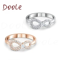 high quality new eternal fashion jewelry glamour love romance number 8 lucky geometric women ring love crystal ring