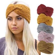 Diadema de punto con orejas para mujer, elástico ancho turbante con lazo de ganchillo, diadema lisa, accesorios para el cabello de calidad, calentador de invierno