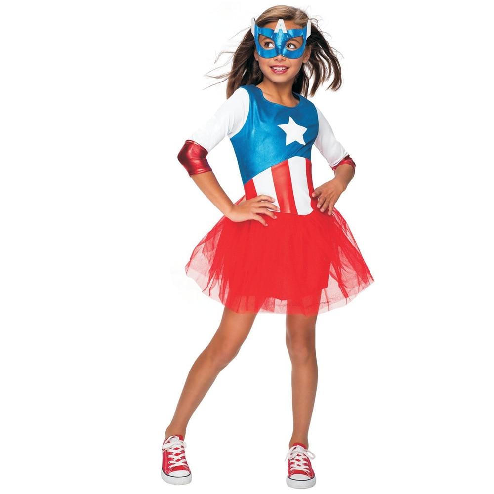 SuperHero Girls Dress Costume for Kids TuTu Dress  Halloween Costume (3-9Years) Captain American Girls Party Dress