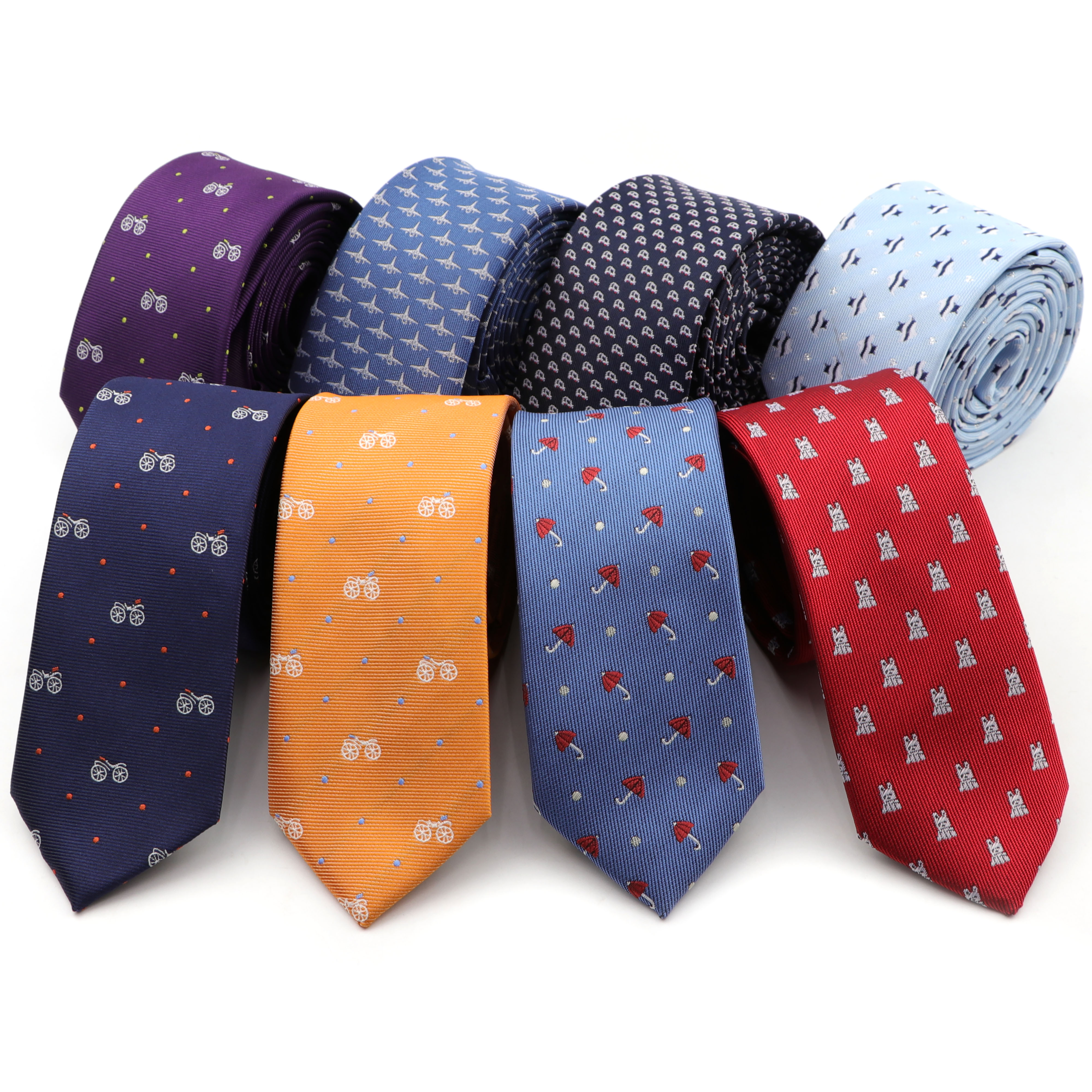 Corbata delgada Formal de 6CM para hombre, paraguas para novio, coche, pez, bicicleta, lazos clásicos estrechos, corbata de poliéster de moda de ocio