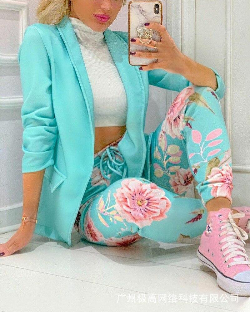 Suit Suit Women's Office Clothes 2021 New Autumn Fashion Two-piece Suit Jacket with Lapel + Printed Drawstring Pants Casual Suit