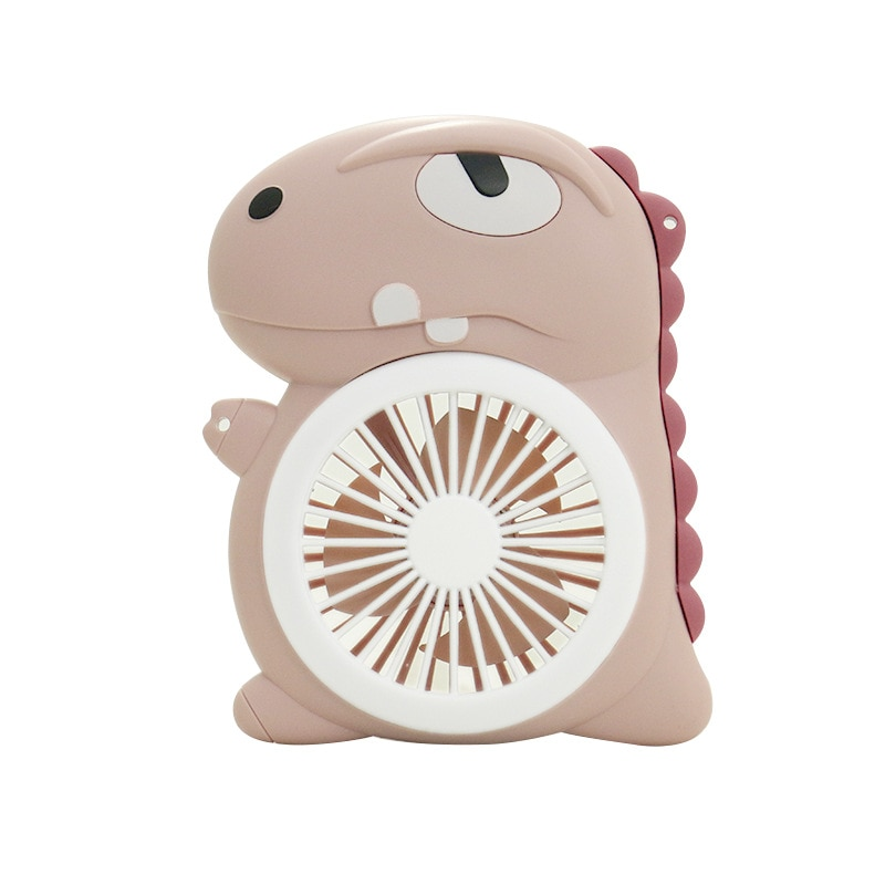 USB Electric Fan 300mAh Rechargeable Cartoon Compact Portable Student And Children Handheld Mini Mute LED Lighting Fan
