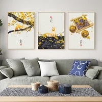 japanese landscape poster print boat lantern leaves canvas painting wall art chinese picture for living room modern home decor