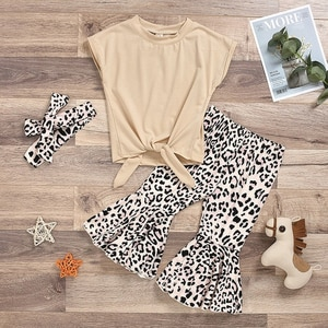 2021 Children's European And American Spring And Summerr Girls' Fashion Short Sleeve Top + Leopard Print  Pants Children's Wear