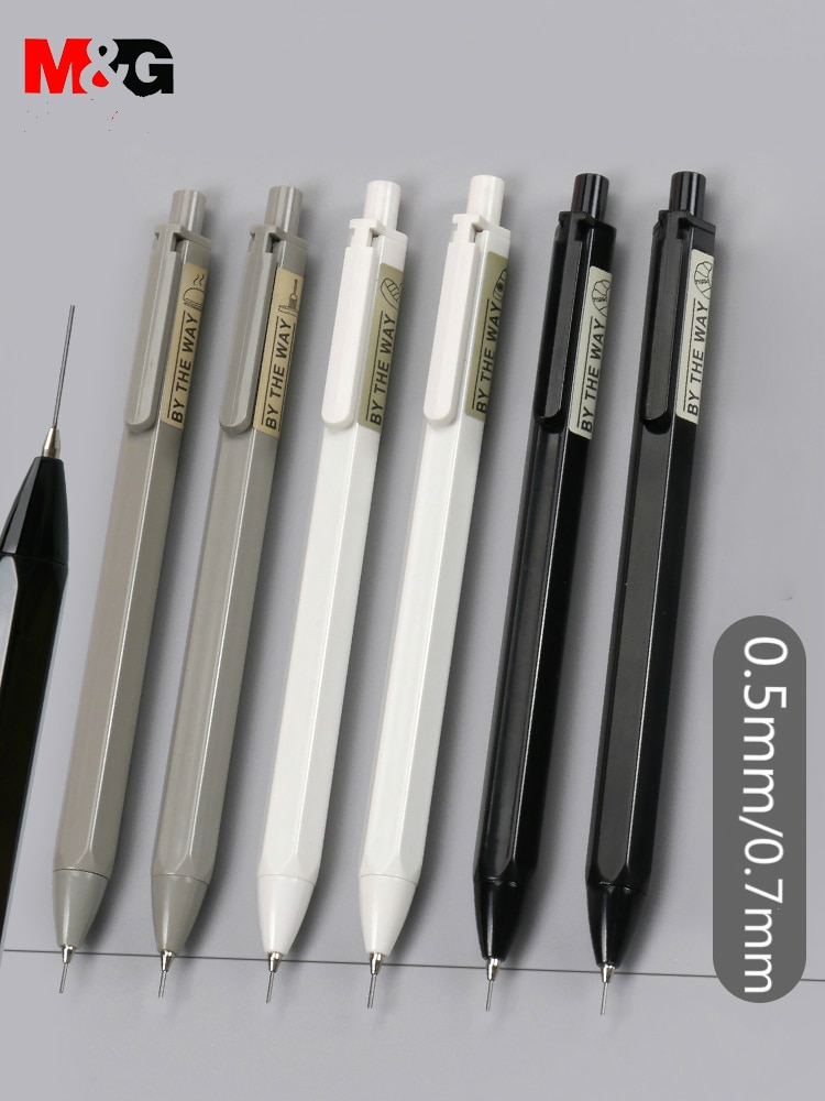 simple black pencil student school pen environmental plastic shell hb pencil learning office stationery supplies M&G Simple Mechanical Pencil 0.5mm/0.7mm HB Automatic pencil with refills stationery auto pencils for school office supplies