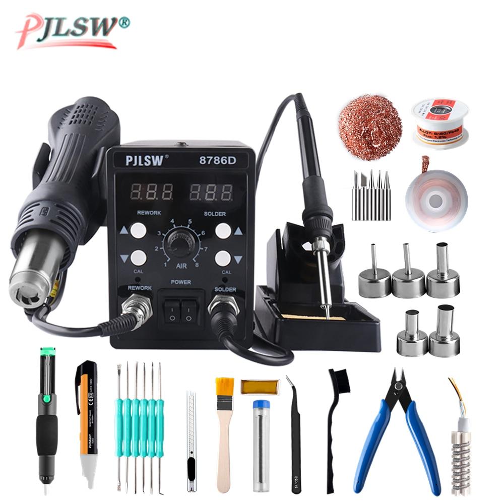 PJLSW 8786D Электрические паяльники + фена лучше SMD паяльная станция обновленная 8786D