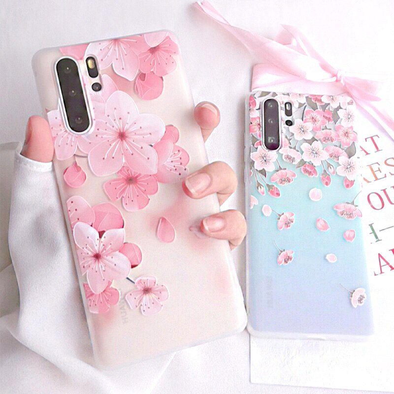 Capa de celular luxuosa 3d flores, para huawei p30 pro p30 p40 lite, macia, tpu para huawei p20 lite capa mate30 pro honor 8x 9x