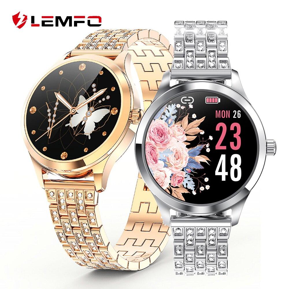 LEMFO LW07 reloj inteligente para mujer 2.5D DIY reloj facial IP67 reloj inteligente impermeable para mujer 2020 para Android IOS teléfono pulsera de Fitness