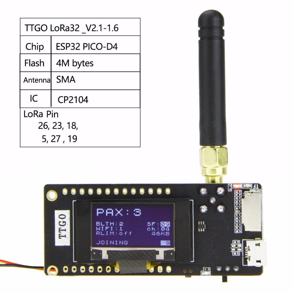 TTGO LoRa32 V2.1 ESP32 Bluetooth WIFI módulo inalámbrico 433/868/915Mhz 0,96 pulgadas Bluetooth wifi módulo inalámbrico SMA IP5306