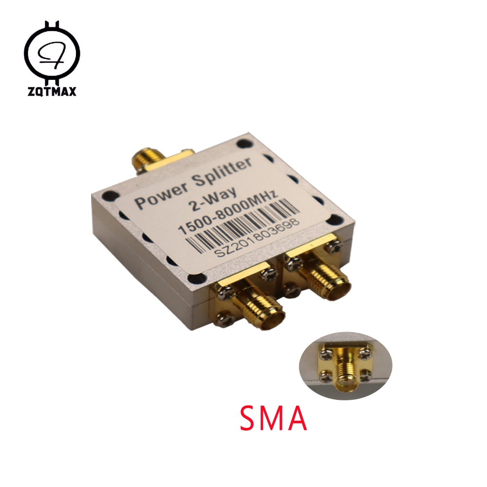 ZQTMAX 2 Way SMA Power Splitter Combiner Female Connector 8G High Frequency 1.5-8Ghz Divider