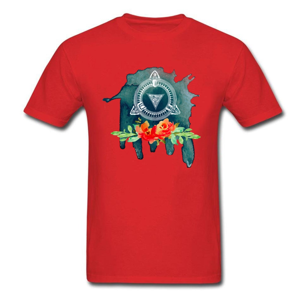 Brand New Watercolor T-Shirt Blooming Norwegian Stone Men T Shirts Design Art Crew Neck Black Tops Floral Geometric