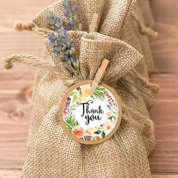 500pcs/Roll Round Floral Thank You Sealed Label Sticker 6