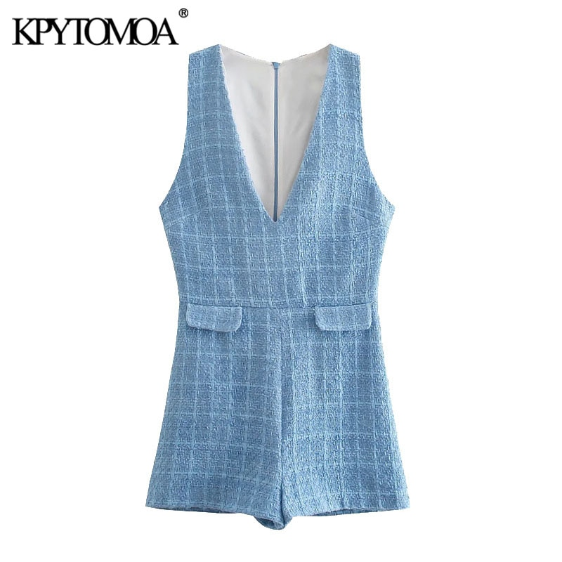 KPYTOMOA Women 2021 Chic Fashion False Pockets Tweed Playsuits Vintage Sleeveless Back Zipper Female