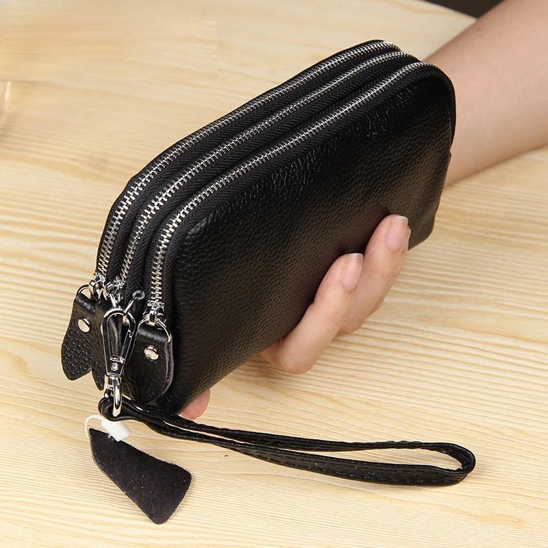 2021 Long Women Wallet Genuine Leather 3 layers Zipper Wristlet Bag Big Capacity Lady Clutch Coin Purse Mobile phone bag black