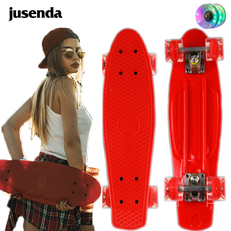 Jusenda Skateboard 22in Mini Cruiser Children's Penny Board Pastel Longboard Fish Skate Board Flashing Wheels Banana Skateboard