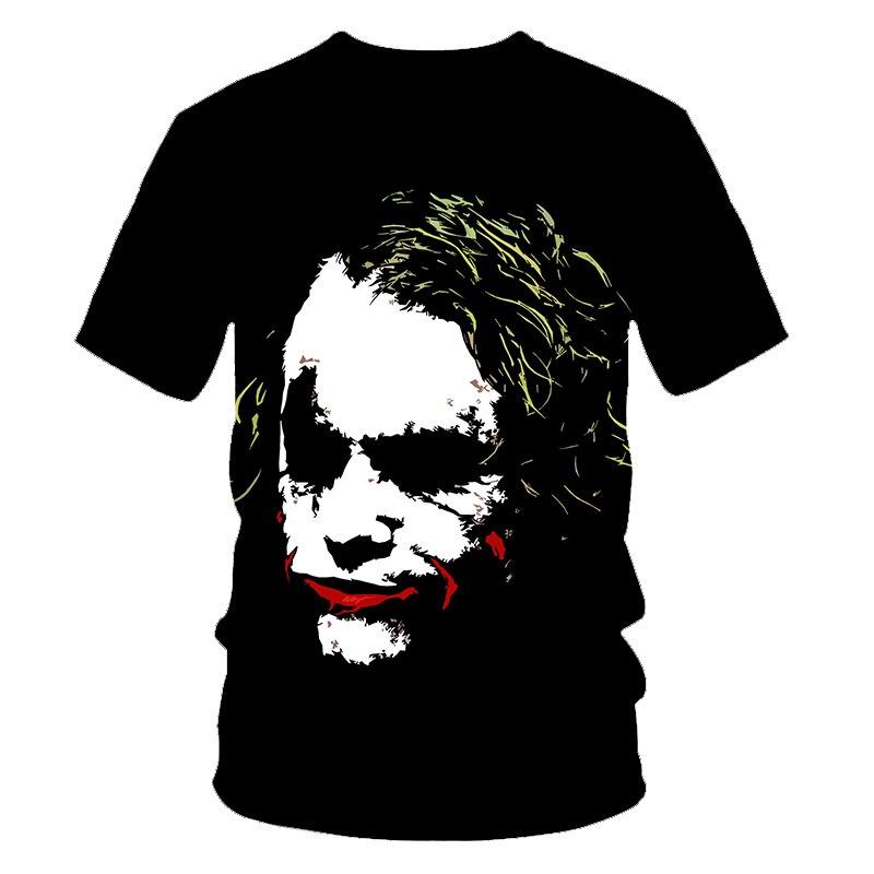 Camiseta para hombre suicida escuadras 3D, camiseta para hombre estampada con cara de Joker, camiseta informal de cuello redondo para hombre, camisetas divertidas de manga corta de payaso para Cosplay, Pokemon