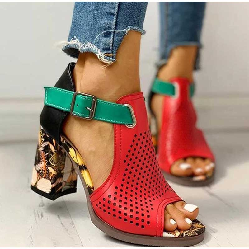 Women's Sandals Female High Heels Zapatos De Mujer 2021 Peep Toe Summer Ladies Shoes PU Buckle Cover Heel Hollow Out Breathable