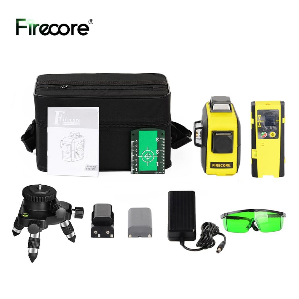 FIRECORE 360 Laser Level 3D 12Lines Лазерный Уровень Auto Self-Leveling Red Green Laser With Receiver/Bracket/3M Tripod