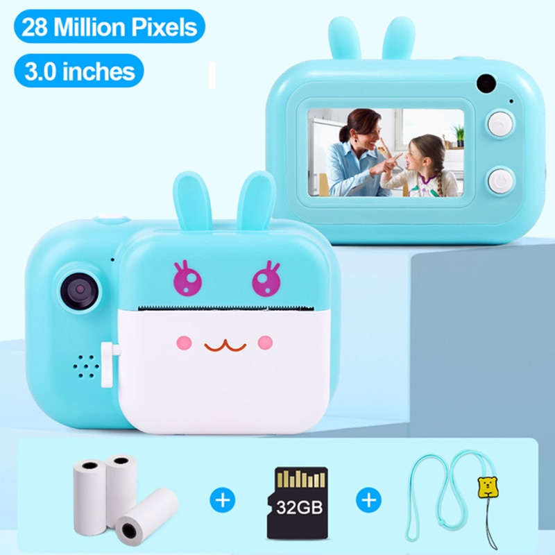 3 Inch Children Instant Print Camera Digital Camera Kid's Selfie Camera Toys Girl Baby Birthday Gift Photo Video Camera For Kids