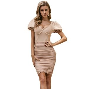 Summer Club Sexy Bodycon Dress Bandage Backless Short Sleeve Party Ruched Double Strap Women Dresses