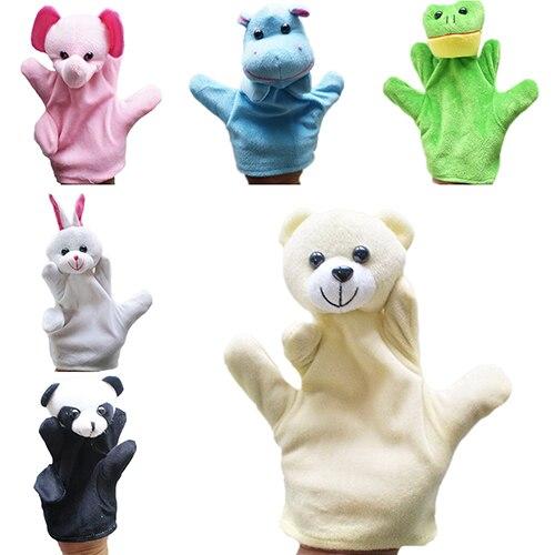 10 estilos, marioneta de mano grande, animales de peluche, tela de bebé, juguete educativo de cognición, mano, muñecos para dedos, Lobo, cerdo, Tigre, marioneta de perro