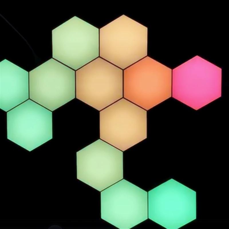 DIY Remote Colorful Quantum Light Running lamp Night Lamp Modular Hexagonal LED Magnetic Lights Wall desk table night light enlarge