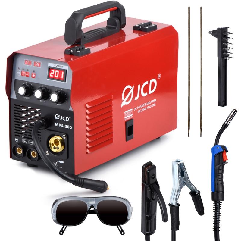 JCD MIG Welder 200/160A Arc Welder 220V Smart IGBT MMA Stick DC Inverter With LCD Digital Display For Beginner Welding Machine