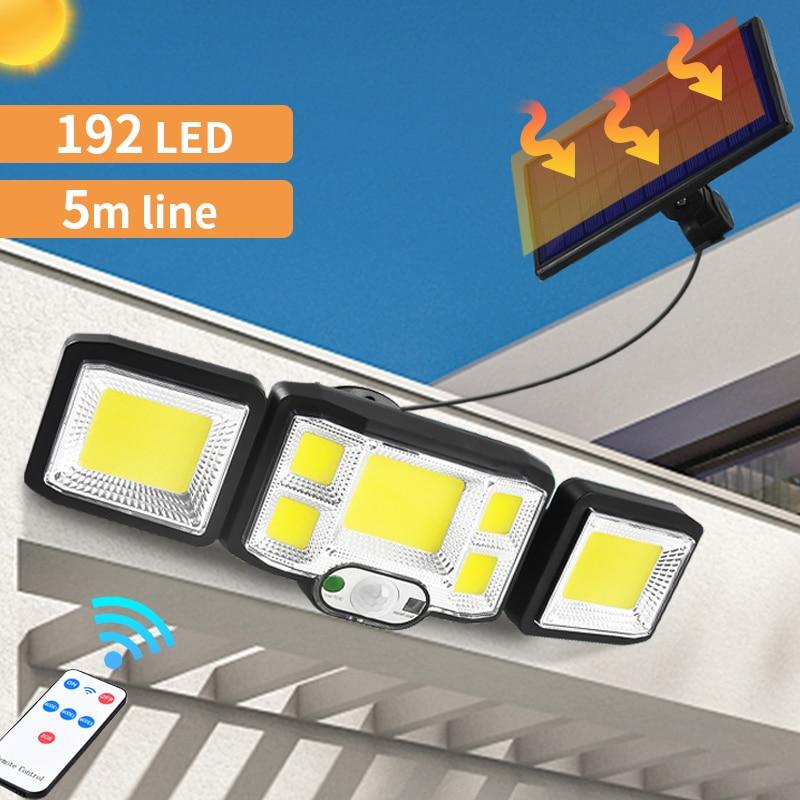 192 LED/COB Solar Wall Lights Outdoor Remote Control Spotlight PIR Motion Sensor Solar Street Lamps For Garden Pathway Lighting
