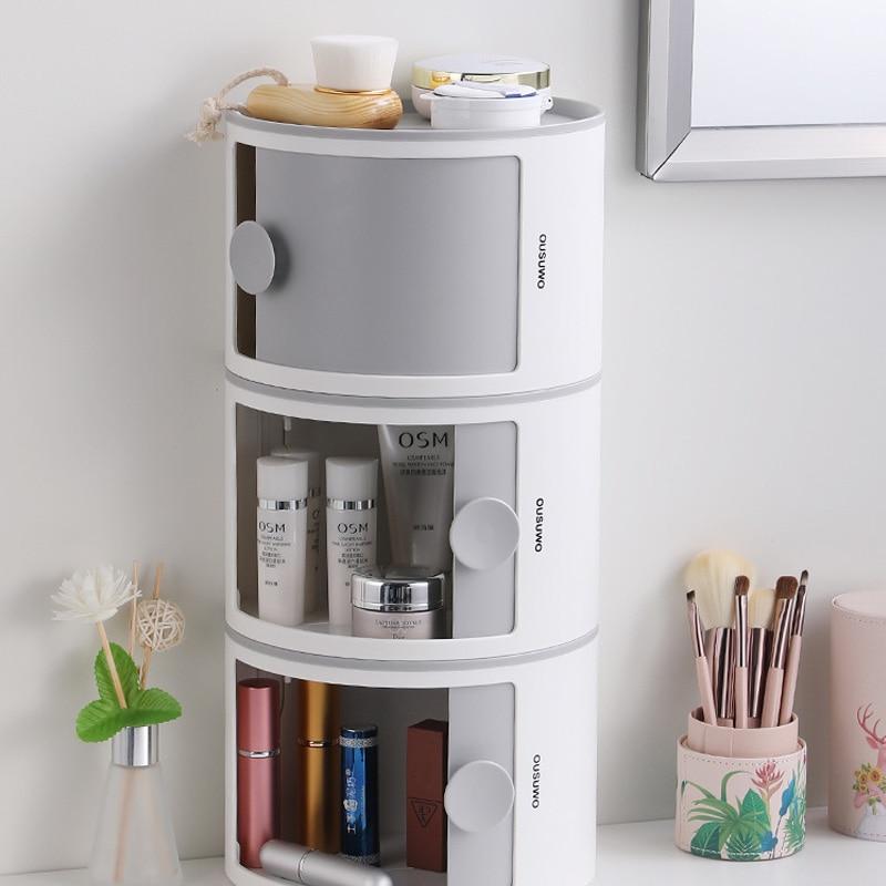منظم حمام إبداعي ، رف جداري بلاستيكي قابل للتكديس ، سعة كبيرة ، تخزين مستحضرات التجميل ، مقاوم للماء