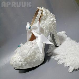 Туфли-лодочки на очень высоком квадратном каблуке 11 см; Туфли-лодочки с кружевом; Женская атласная Свадебная обувь с бантом-бабочкой размер...