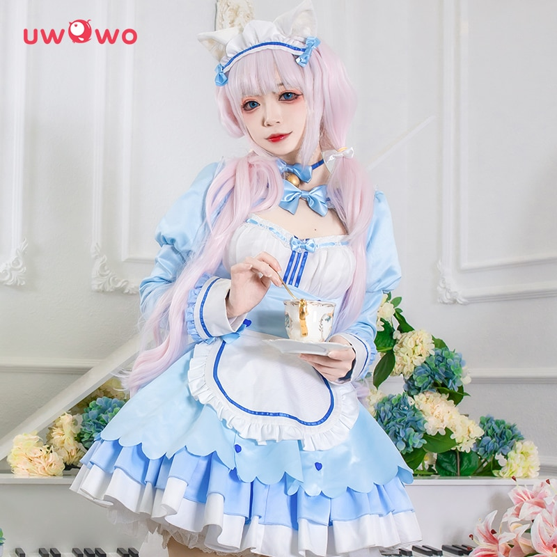 Женское платье для косплея UWOWO Game NEKOPARA vol.4, синее платье для девочек