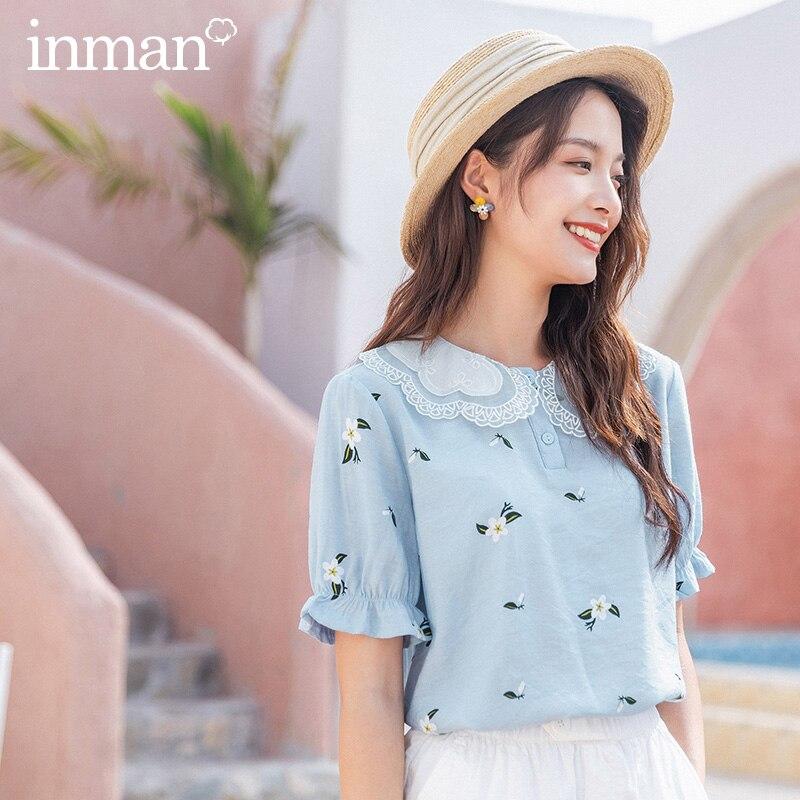 INMAN 2020 Sommer Neue Ankunft Nette Blütenblatt Kragen Elastische Sleeve Vordere Taste Schüttelfrost Peter pan Shirt