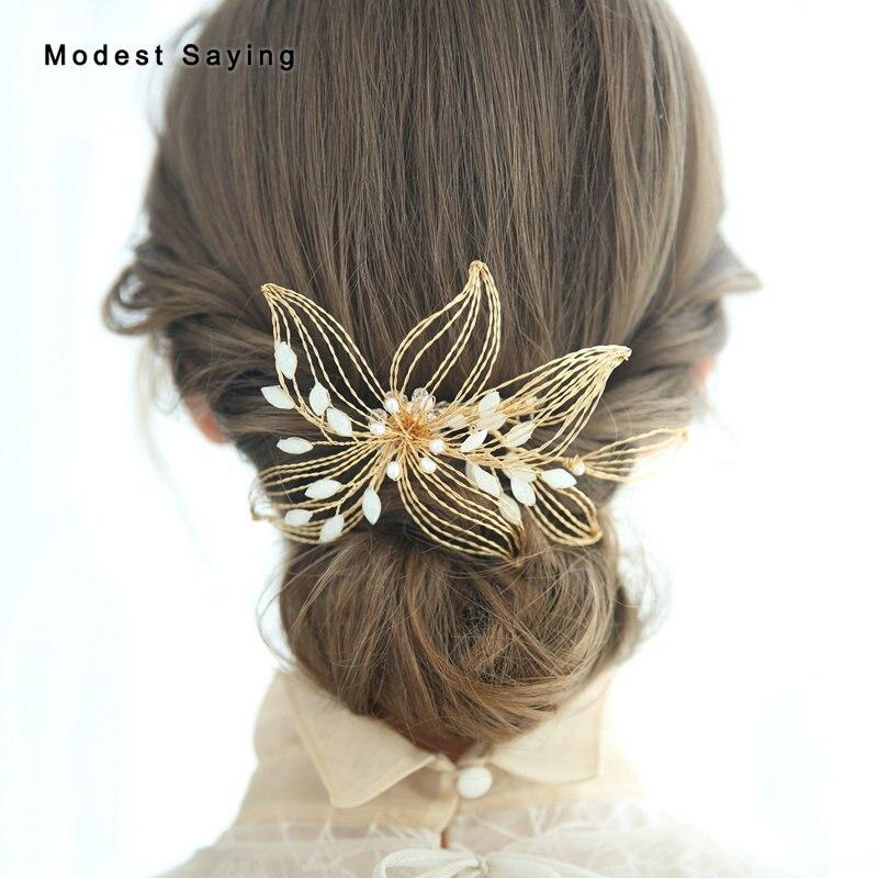 Diadema de boda con flores de Metal, accesorios de cristal de boda,...